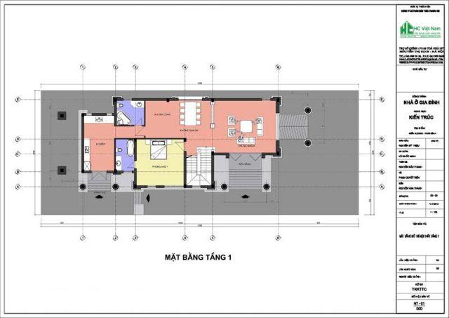 Mặt bằng tầng 1 biệt thự cổ điển