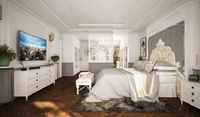 Phòng ngủ rộng rãi, lấy tông màu trắng xám làm chủ đạo