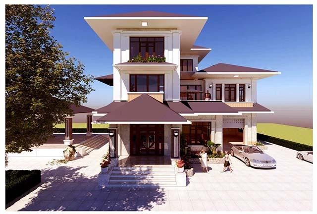 Mặt tiền biệt thự hiện đại tại Bắc Ninh