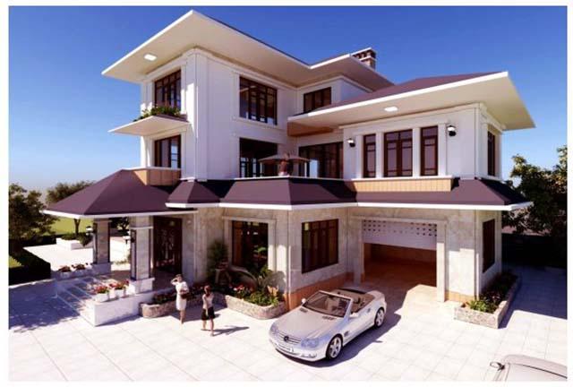 Hình 3D biệt thự hiện đại tại Bắc Ninh