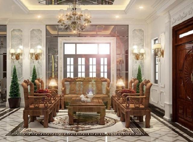 Không gian phòng khách sang trọng, đẳng cấp với nội thất từ gỗ tự nhiên