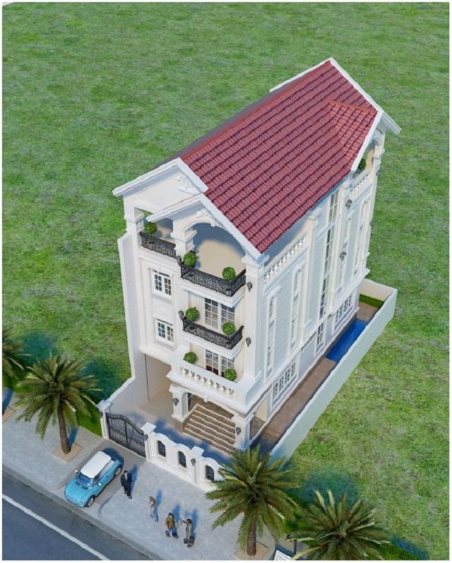 Phần mái ngói đỏ mang đến vẻ cổ kính, thẩm mỹ cho ngôi nhà