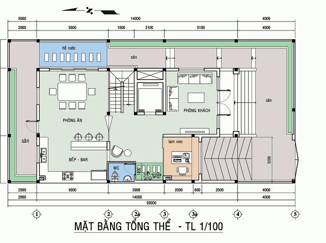 Tầng 1 được thiết kế với diện tích chủ yếu cho sân vườn, khu sinh hoạt chung