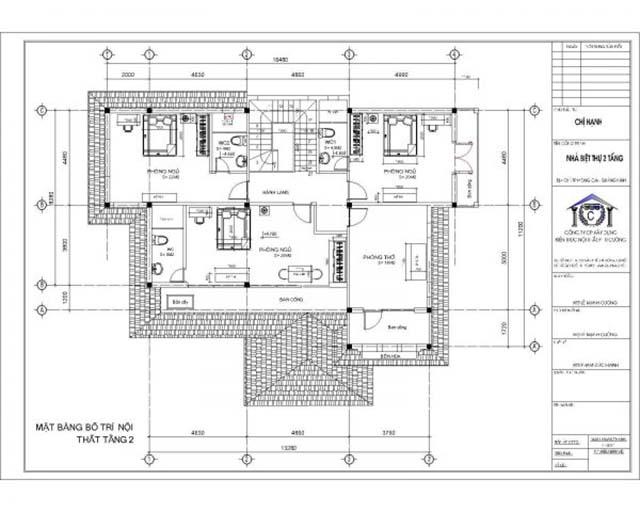 Mặt bằng tầng 2 biệt thự 2 tầng sang trọng, chuyên nghiệp tại Bắc Ninh