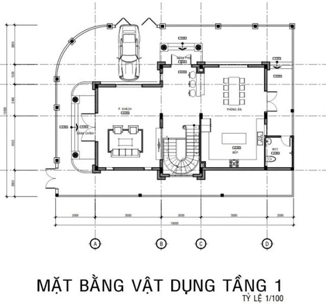 Thiết kế mặt bằng tầng 1