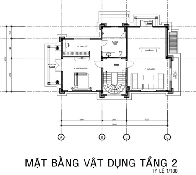 Thiết kế mặt bằng biệt thự tầng 2