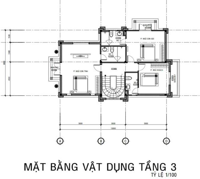 Thiết kế mặt bằng biệt thự tầng 3