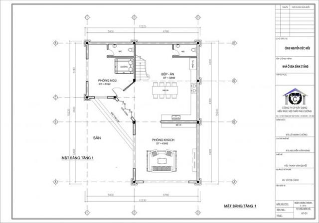 Thiết kế mặt bằng tầng 1 - biệt thự 2 tầng chuyên nghiệp tại Hưng Yên