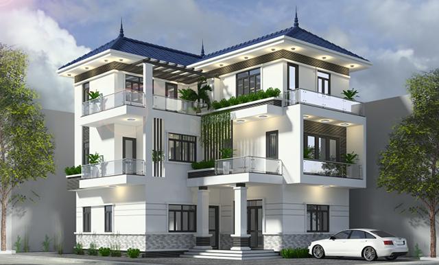 Mặt tiền biệt thự 3 tầng mái Thái đẹp Tại Hưng Yên