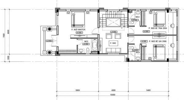 Thiết kế tầng 2 và 3 biệt thự tân cổ điển đẳng cấp 7x15m tại Phú Thọ