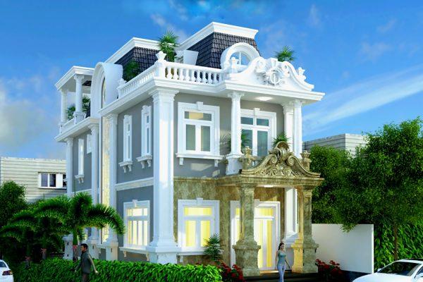 Mặt tiền biệt thự tân cổ điển đẳng cấp 7x15m tại Phú Thọ