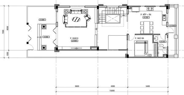 Thiết kế tầng trệt biệt thự tân cổ điển đẳng cấp 7x15m tại Phú Thọ