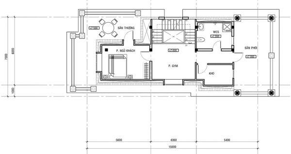Thiết kế gác mái biệt thự tân cổ điển đẳng cấp 7x15m tại Phú Thọ