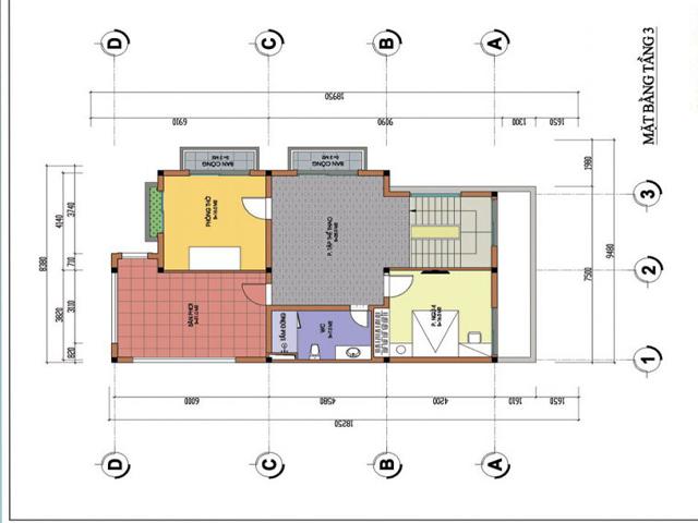 Thiết kế mặt bằng tầng 3 biệt thự hiện đại trên mảnh đất hình thang tại Phú Thọ