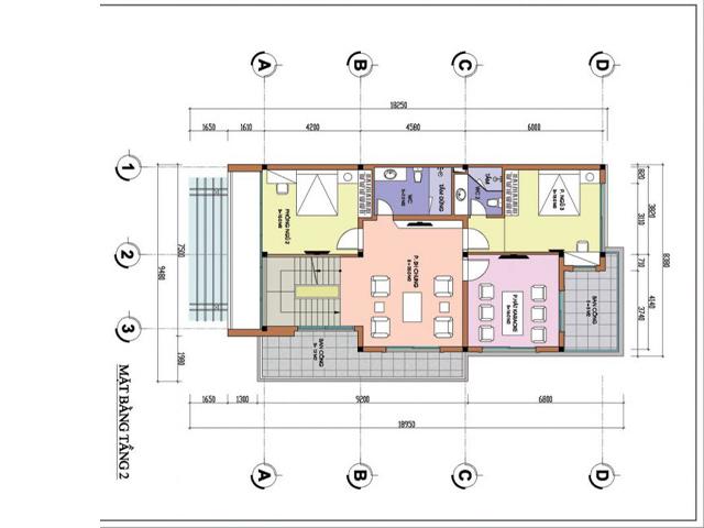 Thiết kế mặt bằng tầng 2 biệt thự hiện đại trên mảnh đất hình thang tại Phú Thọ