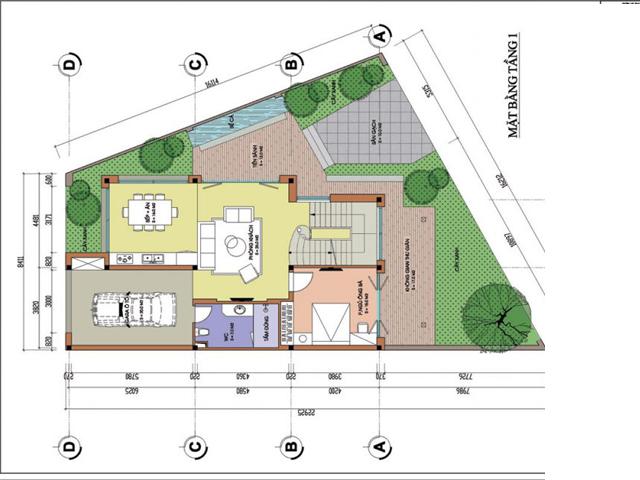 Thiết kế mặt bằng tầng 1 biệt thự hiện đại trên mảnh đất hình thang tại Phú Thọ
