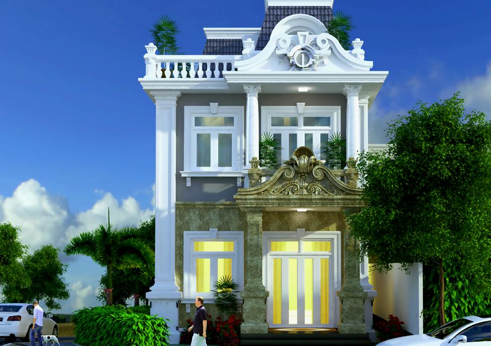 Hình 3D biệt thự tân cổ điển đẳng cấp 7x15m tại Phú Thọ
