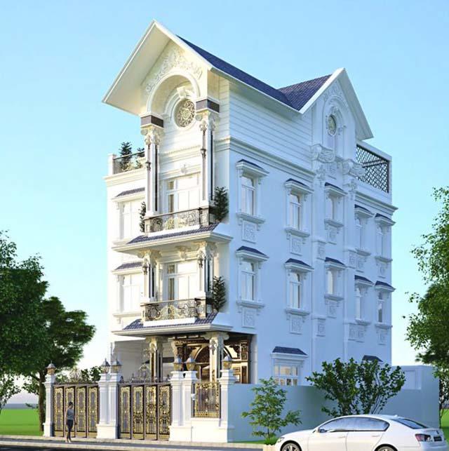 Hình 3D biệt thự tân cổ điển đẹp ấn tượng tại Bắc Ninh