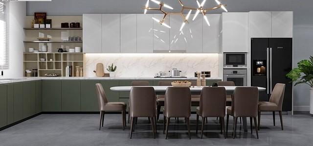 Phòng ăn sử dụng đèn trang trí nổi bật, không gian rộng thoáng