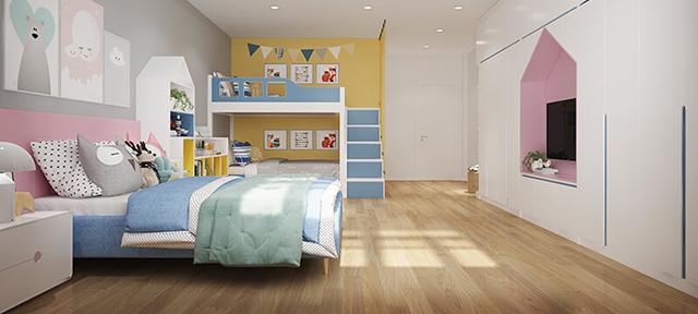 giường tầng cùng với thanh chắn cao, vách ngăn cầu thang đảm bảo an toàn tuyệt đối cho trẻ khi ngủ hay vui chơi.