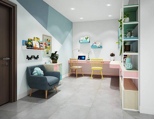 Khu vực học tập hoàn toàn tách biệt với không gian phòng ngủ song vẫn mang một tổng thể dựa theo phong cách năng động cùng hòa tiết giấy dán.