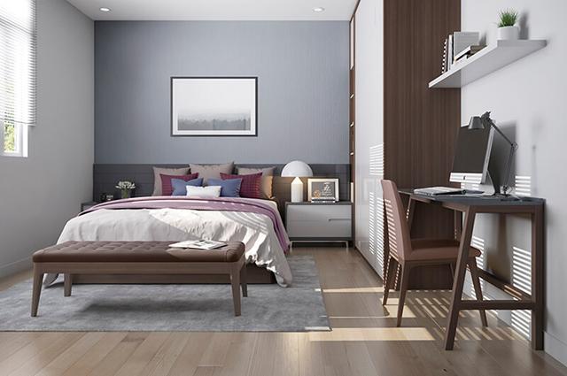 Phòng ngủ khác được làm với thiết kế nhỏ hơn song vẫn đảm bảo được không gian nghỉ ngơi kết hợp với việc làm việc tiện nghi.