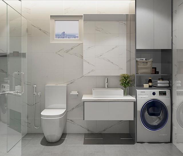 Phòng tắm được thiết kế trắng sáng, sạch sẽ với vách kính trong suốt, sang trọng.