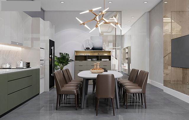 Phòng ăn thường được thiết kế đẹp, rộng rãi để phục vụ cho gia đình chủ nhà có đông người.