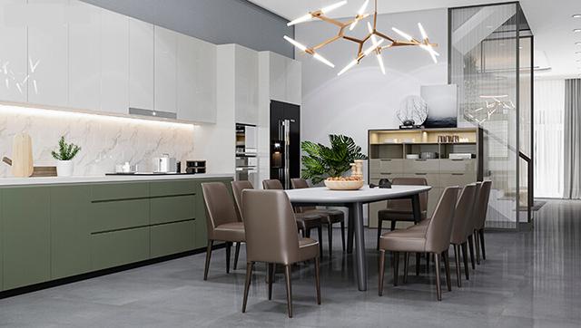 Mẫu Thiết kế nội thất nhà ống 5m x 20m mang phong cách hiện đại - Phòng bếp