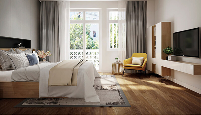 Mẫu Thiết kế nội thất nhà ống 5m x 20m mang phong cách hiện đại - Phòng ngủ