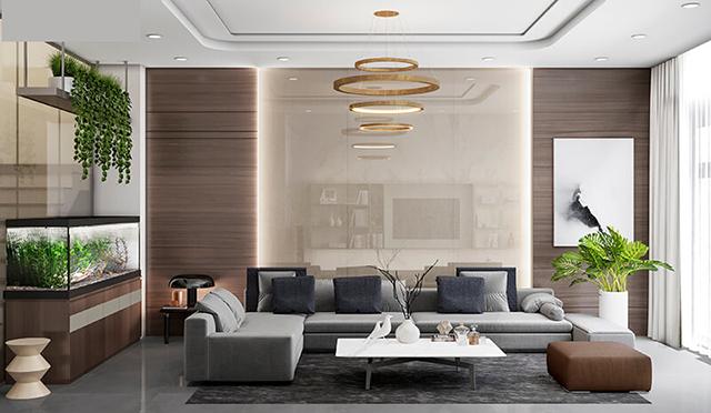 Mẫu Thiết kế nội thất nhà ống 5m x 20m mang phong cách hiện đại nhà anh Vinh - Phòng khách