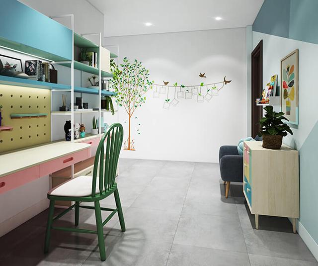Mẫu Thiết kế nội thất nhà ống 5m x 20m mang phong cách hiện đại nhà anh Vinh - Phòng học cho con
