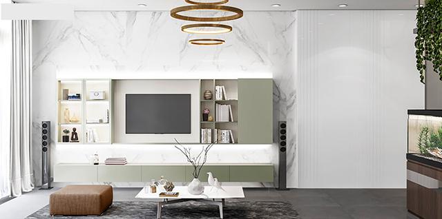 Một góc khác của phòng khách nhìn trông rất sáng, nhẹ nhàng, mang màu sắc tinh tế, tươi mới.