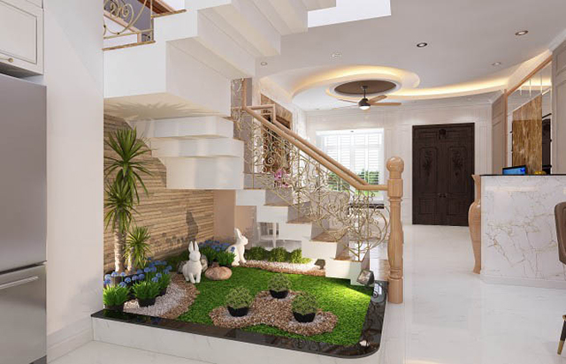 Mẫu thiết kế nội thất nhà phố 5m x 20m mang phong cách tân cổ điển - Phòng khách