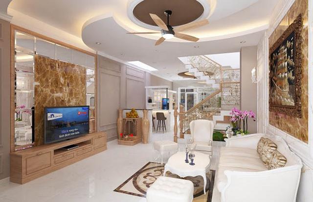 Mẫu thiết kế nội thất nhà phố 5m x 20m mang phong cách tân cổ điển nhà chị Thu- Phòng khách