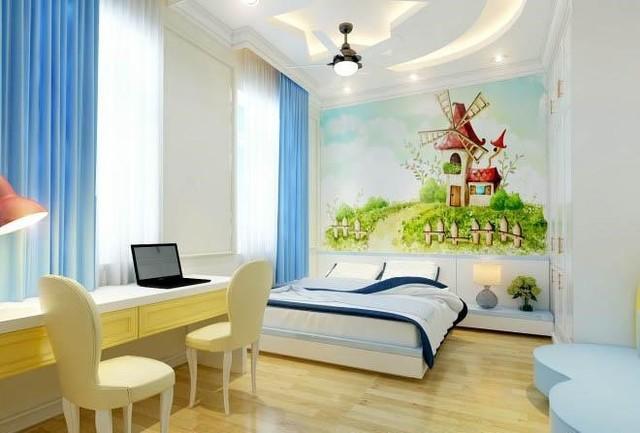 Sự kết hợp giữa nền trắng – xanh – vàng khiến phòng ngủ thêm phần sinh động