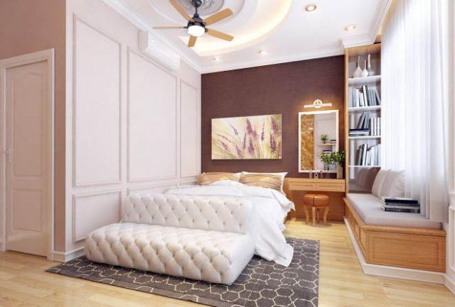 Mẫu thiết kế nội thất nhà phố 5m x 20m mang phong cách tân cổ điển nhà chị Thu - Phòng ngủ