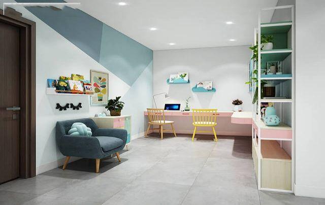 Thiết kế phòng học tập tách ra so với phòng ngủ của các bé