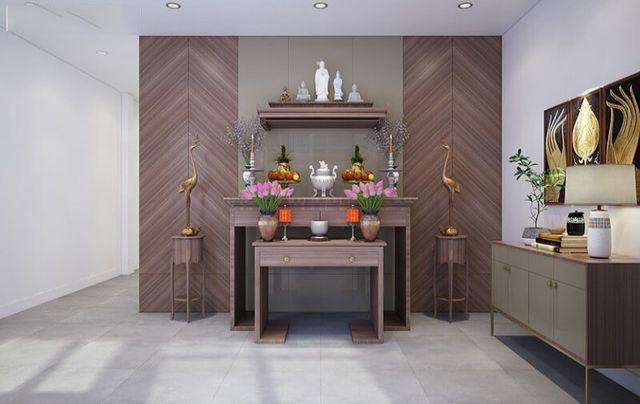 Phòng thờ của gia đình được thiết kế với đồ nội thất đơn giản