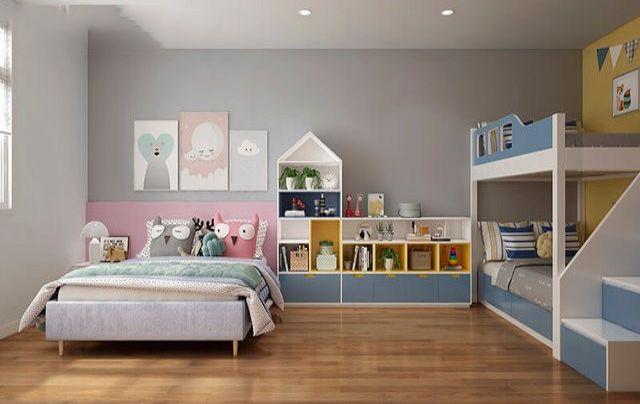 Phòng trẻ em được thiết kế nội thất với gam màu tươi sáng, rực rỡ