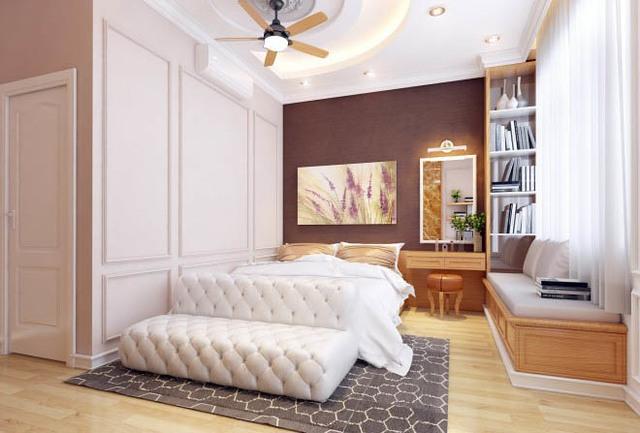 Nội thất phòng ngủ cổ điển, tinh tế và sang trọng.