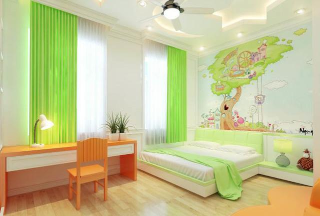 Phòng ngủ trẻ em với gam màu tươi sáng, hình dán trang trí vui nhộn.