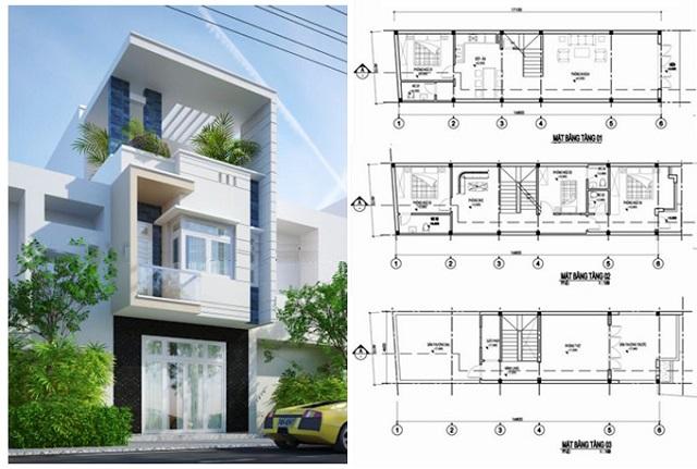 Thiết kế nhà 3 tầng với cấu trúc hiện đại cùng cây xanh mang lại sự gần gũi, tự nhiên