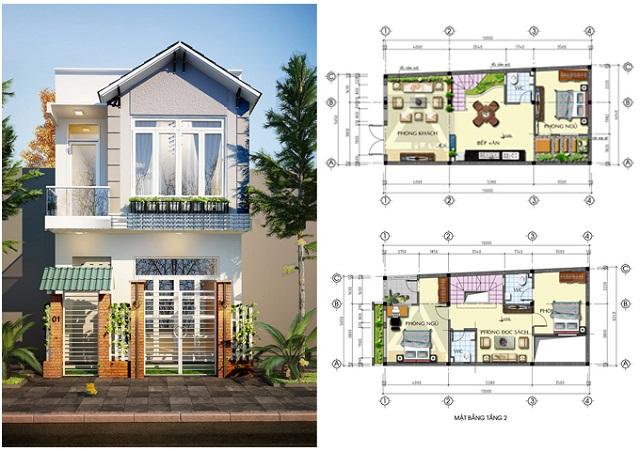 Bản thiết kế nhà với diện tích khiêm tốn nhưng vẫn thoáng đãng, dễ chịu