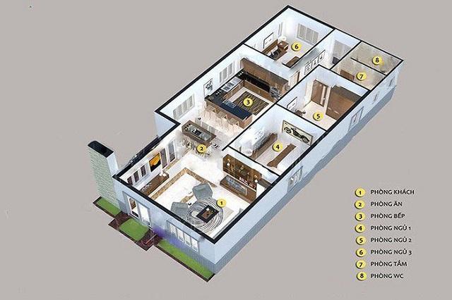 Mẫu thiết kế dành cho nhà 1 tầng, 3 phòng ngủ với không gian sang trọng, tinh tế