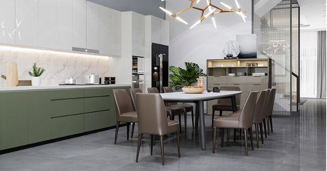 Mẫu Thiết kế nội thất nhà ống 5m x 20m mang phong cách hiện đại nhà anh Vinh - Phòng bếp