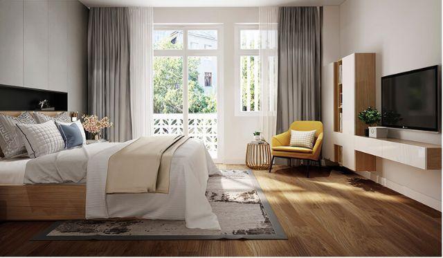 Mẫu Thiết kế nội thất nhà ống 5m x 20m mang phong cách hiện đại nhà anh Vinh - Phòng ngủ