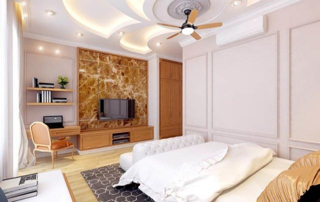 Phòng ngủ rộng rãi, ấm cúng với gam màu trắng