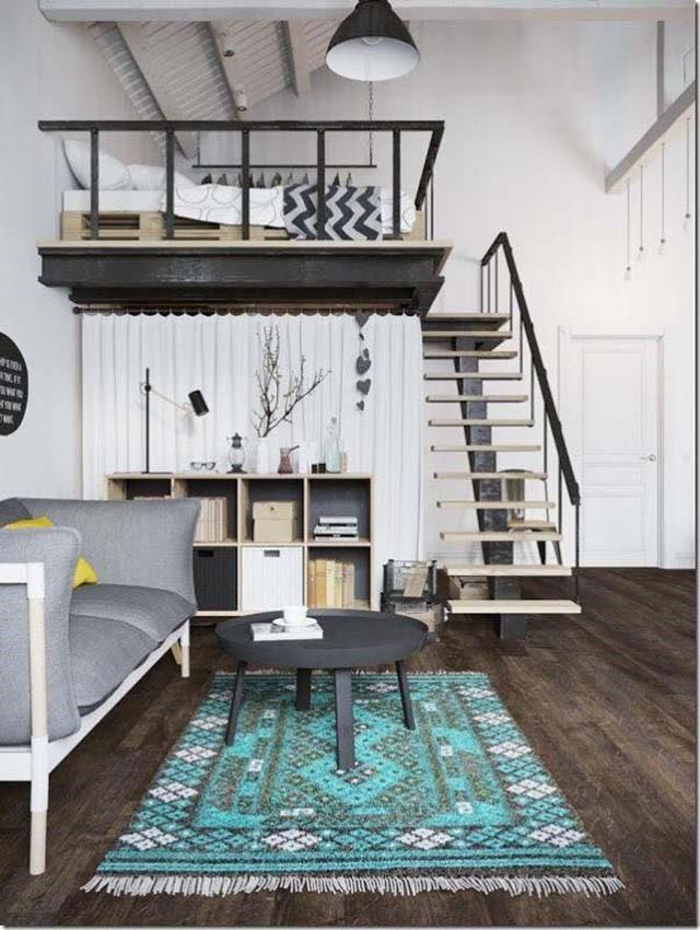 Phòng khách sử dụng tấm thảm trải sàn màu xanh tạo điểm nhấn độc đáo.