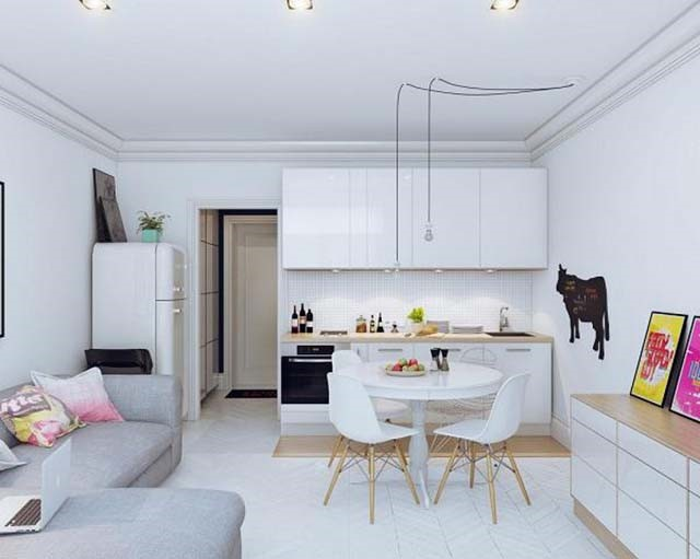 Mặc dù diện tích khá khiêm tốn tuy nhiên cách bố trí vô cùng hài hòa, đẹp mắt. Gam màu trắng sáng chủ đạo tạo cảm giác rộng rãi, thông thoáng cho ngôi nhà.